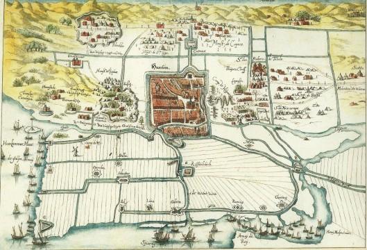Tekening van het Beleg van Haarlem door Henry Masen uit 1572. Het Haarlemmermeer en Spieringmeer linksonder. Boven, links en rechts van de stad de kampementen van de Spaanse soldaten. Links = het zuiden van de stad ligt Heemstede, het Bernardietenklooster etc.