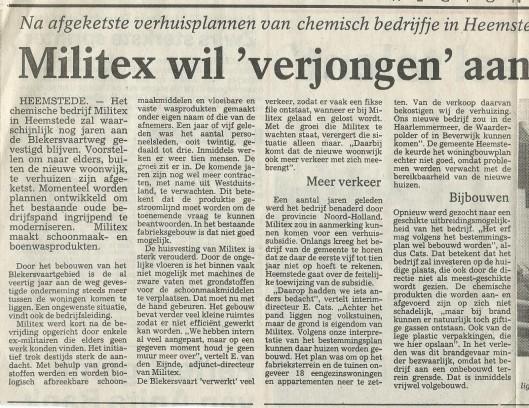 Artikel over Militex aan de Blekersvaartweg. Uit: Haarlems Dagblad van 11 augustus 1988.