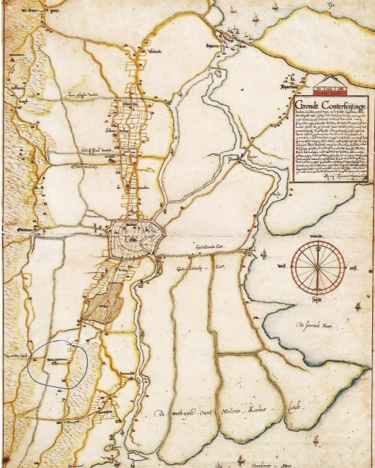 Kaart van Thomas Thomaszoon met linksonder Heemstede en naar beneden de uitmonding van het Spaarne in het Haarlemmermeer