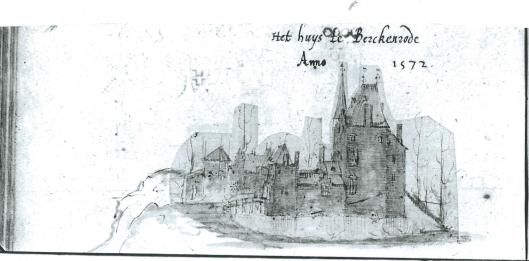 De oudste afbeelding van het huis Berkenrode. Tekening in handschrift Arend Buchell, Universiteitsbibliotheek Utrecht.