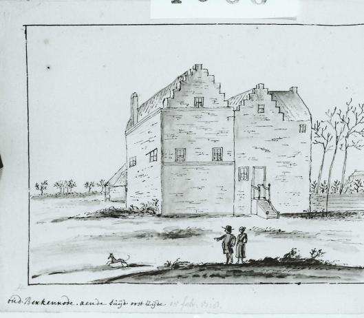 Berkenrode aan de zuid- en oostzijde. Tekening van Hendrik Pola, 15 februari 1718