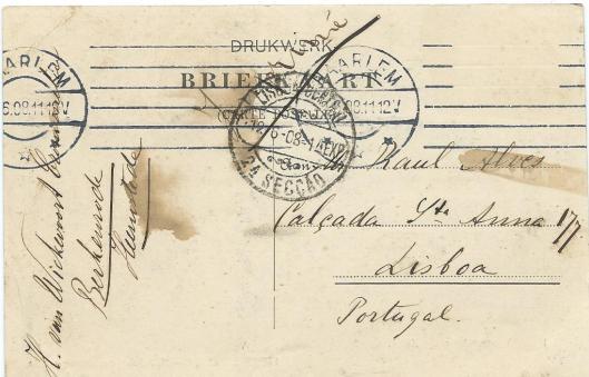 Achterzijde van door H.van Wickevoort Crommelin naar Paul Alves in Lissabon verzonden ansichtkaart