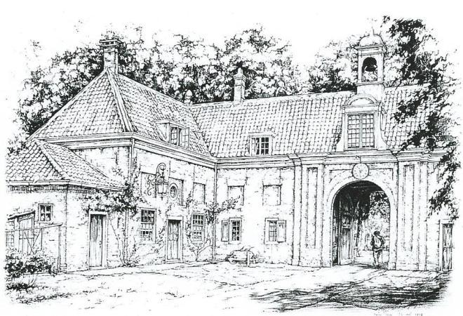 Binnenzijde van het poortgebouw Elswout, in 1979 getekend door Anton Pieck in opdracht van de gemeente Bloemendaal