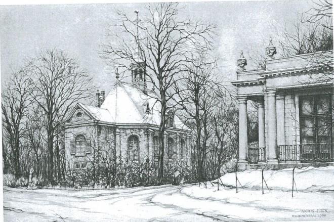Rechts de koepel van Wildhoef, in 1979 getekend door Anton Pieck in opdracht van de gemeente Bloemendaal