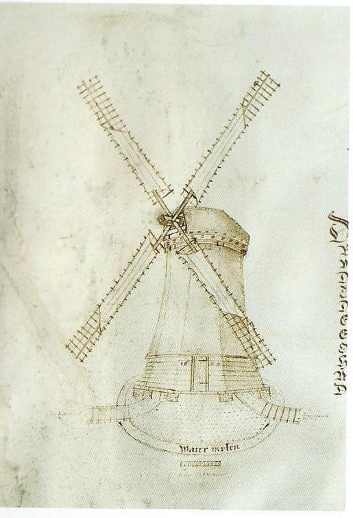 Eigenhandig door Leeghwater getekende poldermolen op zijn plan voor droogmaking van het Haarlemmermeer, 1629 (Ben Speet, Historische atlas van Haarlem)