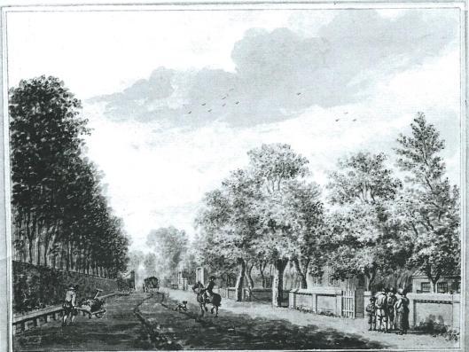 Entree van Berkenrode aan de Herenweg in Heemstede. Tekening van Jan Vincentsz. v.d. Vinne uit 1780 (Noord-Hollands Archief)
