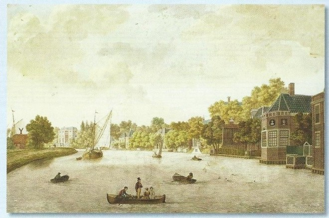 Het Zuider Buiten Spaarne, de zogeheten 'Gouden Bocht' met de buitenplaatsen Lustenburg, Rustenburg en Sparenhout, getekend door F.A.Milatz in 1805