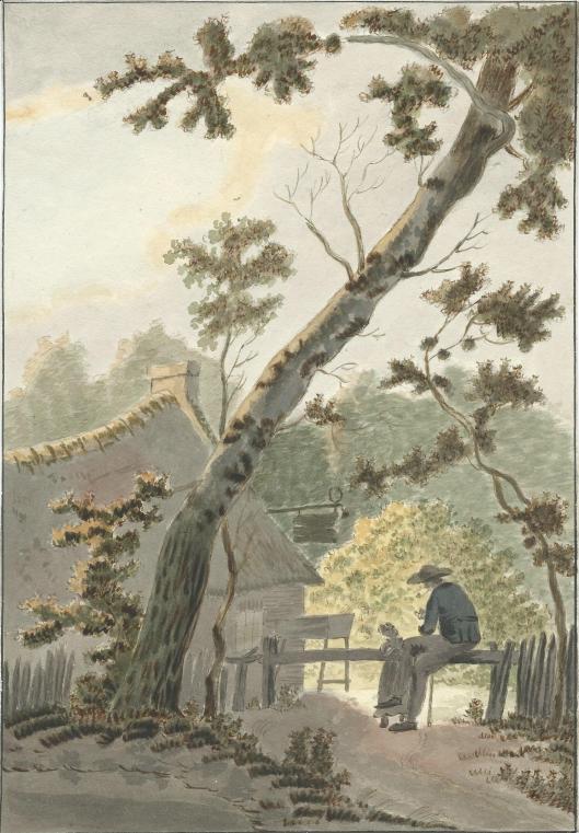 In de tuin van Wildhoef (Bloemendaal), aquarel door J.P.A.van Wickevoort Crommelin, 1815