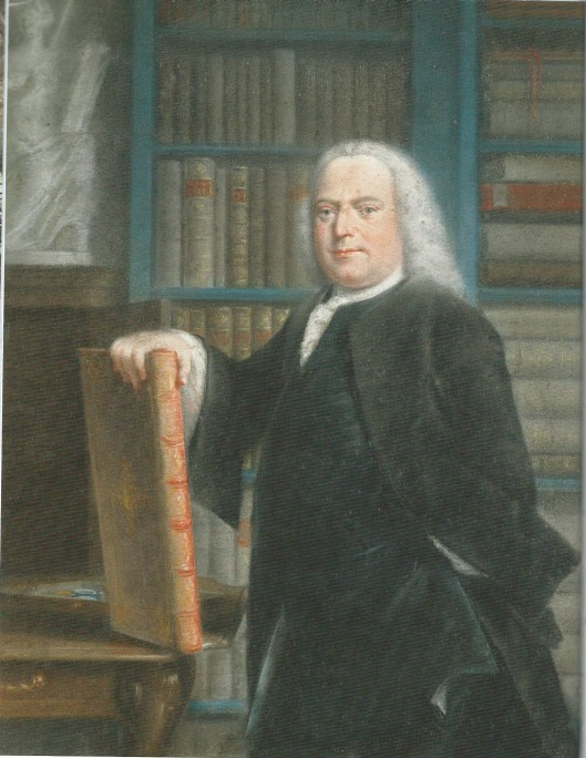 Taco Jelgersma maakte in 1770 een pasteltekening van Pieter Teyler van der Hulst (1702-1778) in diens bibliotheek