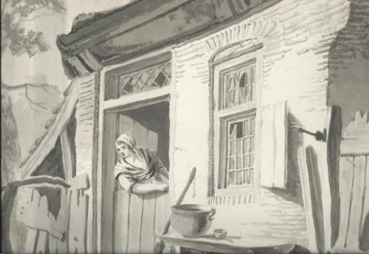 Tuinhuis. Pentekening van J.P.A.van Wickevoort Crommelin (1798-1874)