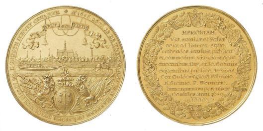 In 1659 vervaardigde (gouden) gedenkpenning vervaardigd door Peter van Abeele of Christoffel Adolphi n.a.v. de opening van de trekvaart tussen Haarlem en Leiden in 1657