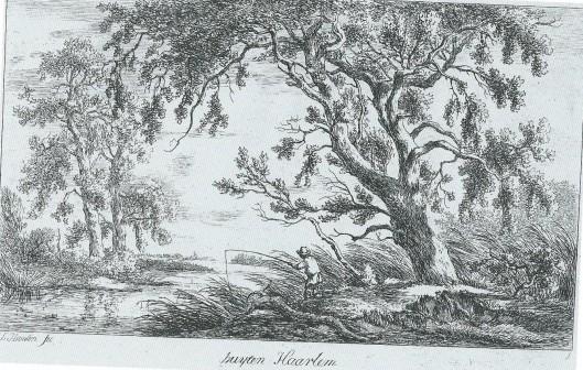 Hengelaar buyten Haarlem, Heemstede. Ets van Carel Lodewijk Hansen (1765-1840) uit 1794.