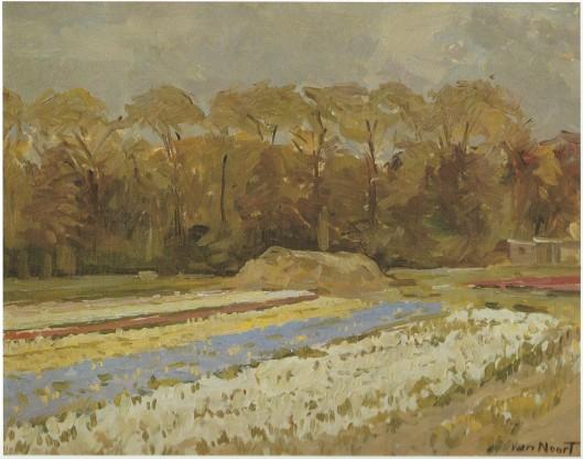Adriaan C. van Noort. Olieverf op paneel van bloembollenveld. In particuliere verzameling