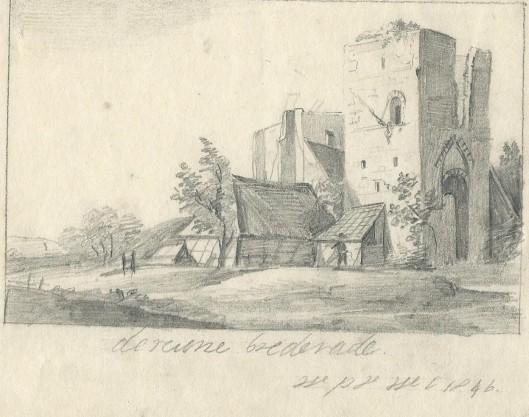 Tekening van de ruïne van Brederode door Willem Philip van Wickevoort Crommelin, 1896
