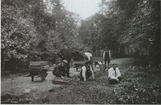 Foto genomen tijdens de voorbereidingen van de bloemententoonstelling Bulbi et Cultura in de Haarlemmerhout, 1910. Werklui van de Dienst Gemeenteplantsoenen planten bollen. De voorman met bolhoed houdt toezicht (Uit: De Groene Stad, 2002)