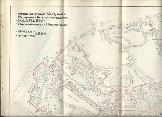 Deel van door tuinontwerper D.F.Tersteeg tussen 1923 en 1925 ontworpen plaategrond van de FLora 1925, gevoegd bij de officiële gids/catalogus.