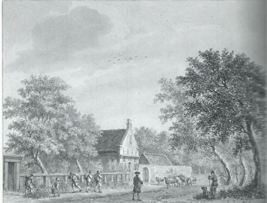 De weg langs boerderij 'Bronstee' eind 18e eeuw. Tekening van H.Schouten (N.H.Archief)