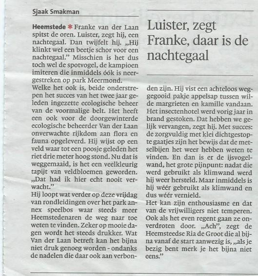 Ecologie werpt vruchten af op Meermond (1) uit: Haarlems Dagblad van 30 mei 2015