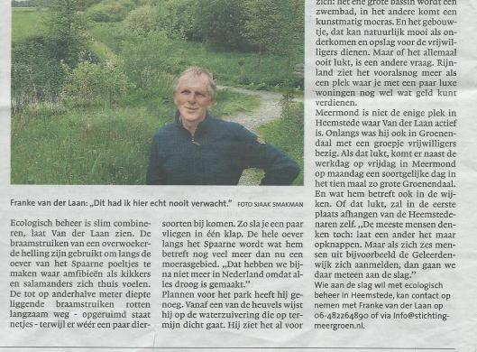 Vervolg van artikel: 'Ecologie werpt vruchten af op Meermond' met DRanke van der Laan door Sjaak Smakman, in: Haarlems Dagblad van 30 mei 2015