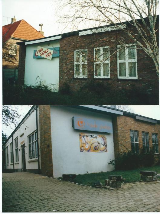 Twee afbeeldingen van sociaal-cultureel centrum 't Oude Posthuis aan de Herenweg, tegenwoordig CASCA-de Luifel
