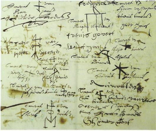 Handtekeningen van inwoners Heemstede die in 16151 beloven hun graan te laten malen bok C.P.van der Kade.