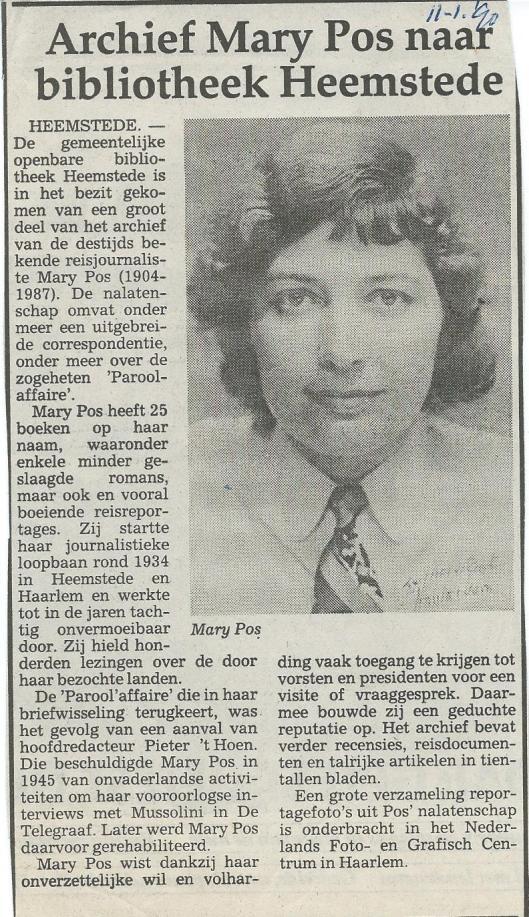 Archief Mary Pos naar bibliotheek Heemstede. Uit Haarlems Dagblad, 11-1-1990