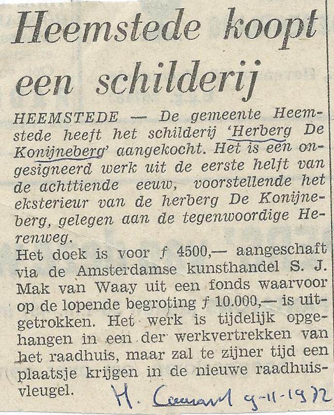 Bericht van aankoop schilderij 'Herberg de Konijnenberg', dat helaas als gevolg van een inbraak verloren ging (Heemsteedse Courant, 9-11-1972)
