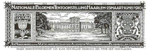 Briefhoofd van correspondentie van de nationale bloemententoonstelling in Haarlem 1910