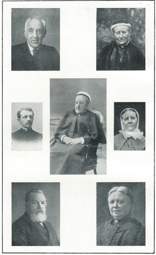 Portretten van 7 personen die van belang zijn geweest voor het instituut voor epilepsiebestrijding Meer en Bosch in Heemstede. Boven: de heer en mevrouw J.Bierens de Haan-van Leeuwen. Midden: freule Teding van Berkhout, tussen Broeder Bogert en Zuster Matje. Onder: de heer en mevrouw J.L.Zeger-Danens. Jan Bierens de haan was een van de medeoprichters en vanaf 1882 tot zijn overlijden in 1908 bestuurslid. J.L.Zegers was directeur van 1890 tot 1912, als opvolger van ds. L.H.F.Creutzbach en in 1912 (tot 1919) opgevolgd door ds. G.Barger Ezn.