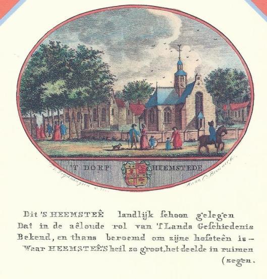 Gravure Heemstede door Anna C.Brouwer. Uit: L. van Ollefen, Stad- en Dorpsbeschrijver van Kennemerland. 1796.