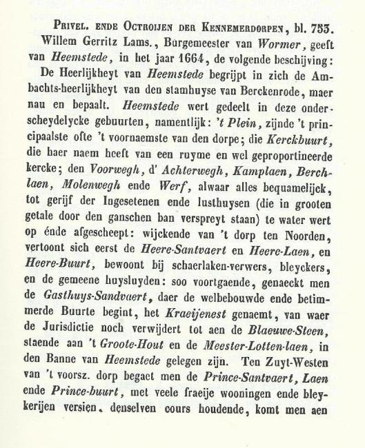 ....komt men aen Swartsenburger-laen, den bedrijve van Bennewbroecks aenvangh.