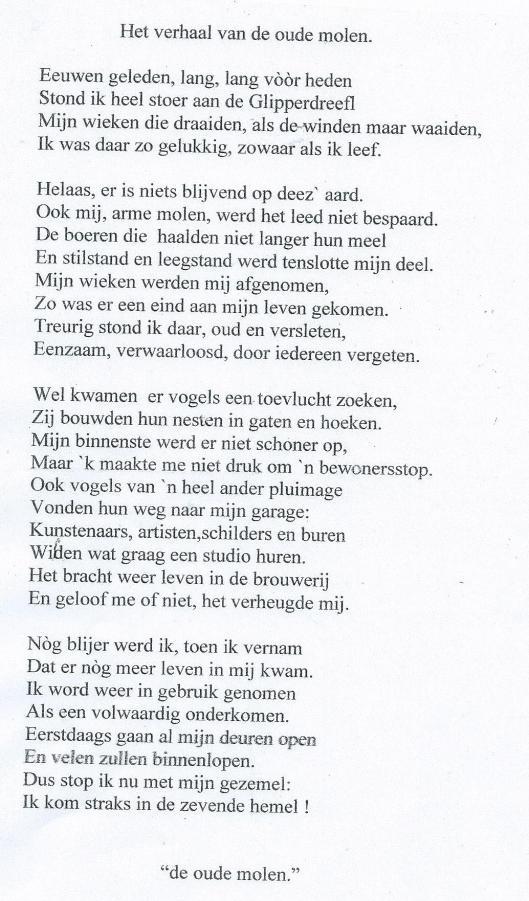 'Het verhaal van de oude molen' . Anoniem vers
