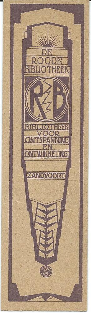 Bladwijzer van 'De Roode Bibliotheek' Zandvoort (Gerhard Rijnders)