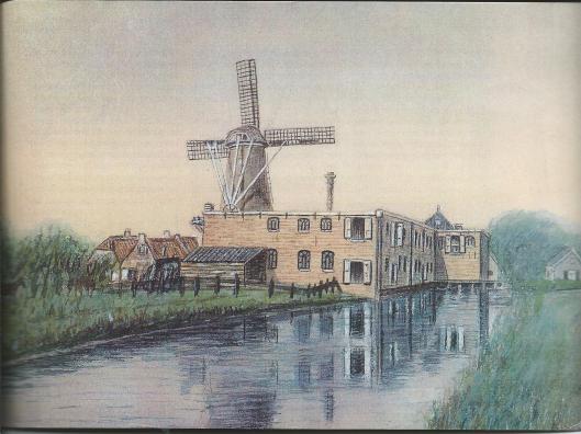 Tekening van molen de Nachtegaal en meelfabriek Höcker in Heemstede uit het archief HVHB