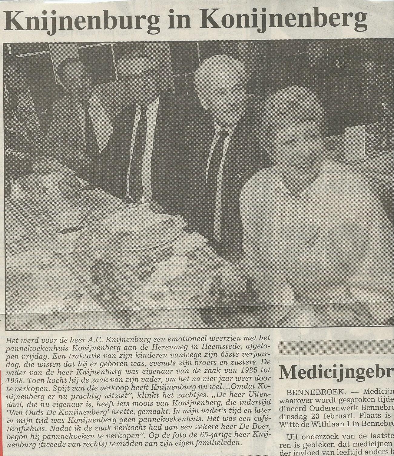 Knijnenburg in Konijnenberg. Uit: de Heemsteedse Couranrt van 16-2-1993