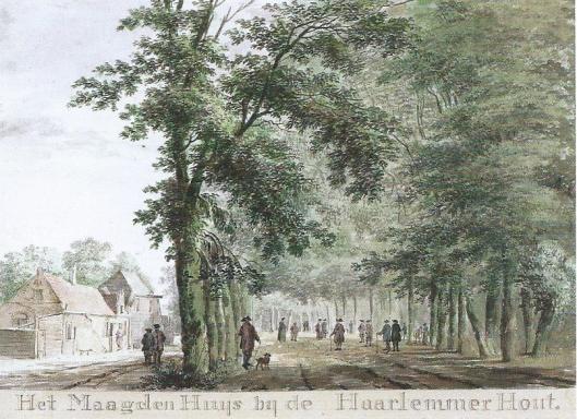 Tekening van herberg Het Maagdenhuis in de Hout, door Hendrik Tavenier (1775) (N.H.Archief)