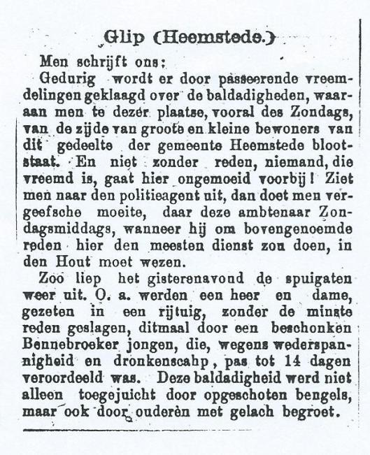 Baldadigheid op de Glip. Uit: Oprechte Haarlemsche Courant van 18-6-1895.