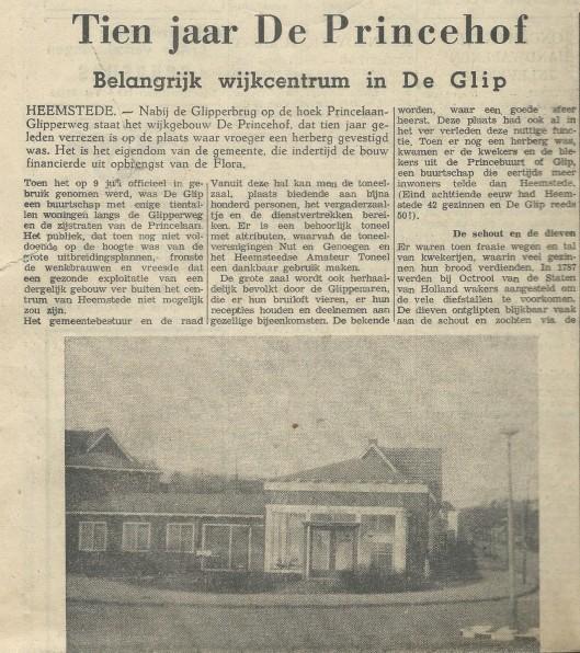 Tien jaar De Princehof. UIt: Heemsteedse Courant, 24 juni 1965