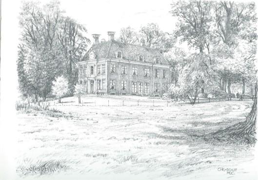 Huis te Vogelenzang; tekening door Chris Schut (uit: A.M.Hulkenburg,Gezichten in Zuid-Kennemerland, 1990)