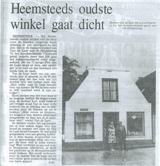 Heemsteeds oudste winkel gaart dicht (bakker Van der Laar). Uit: Heemsteedse Koerier, 25 juli 1979.