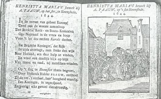 Beleefdheidsbezoek van Henriette Maria aan Adriaan Pauw op het Oude Slot, dat overigens in 1642 plaatsvond (Enkjuizer Almanak, 1811)