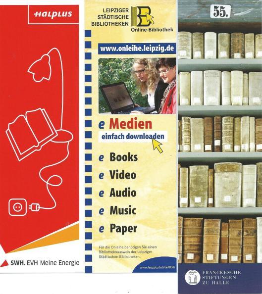 V.l.n.r.: 1) Stadtbibliothek Halle, 2) Leipziger Städtische Bibliotheken, 3) Kulissenbibliothek der Franckesche Stiftungen zu Halle
