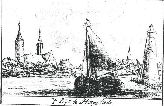 't Huys te Heemstede. Tekening uit circa 1732 door Gijsbert Boomkamp (Gemeentearchief Alkmaar). Rechts de 'vuurboot' ofwel vuurtoren bij de monding van het Spaarne komende vanaf het Haarlemmermeer. Links daarvan de Oude Kerk en links het kasteel.