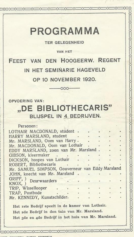 Vooromslag blijspel 'De bibliothecaris'.  (K.J.M.V.)