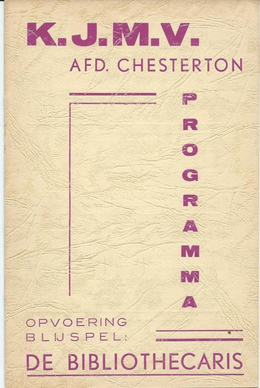 Ptogramma ter gelegenheid van het feest van den hoogeerw. regent in het seminarie Hageveld op 10 november 1920. Opvoering van 'De bibliothecaris'; blijspel in vier bedrijven.