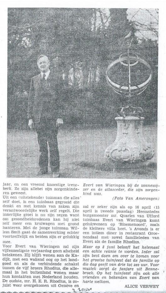 Vervolg van artikel over 40-jarig jubileum als tuinbaas van Dennenheuvel bij de familie Rhodius, 4-4-1974.