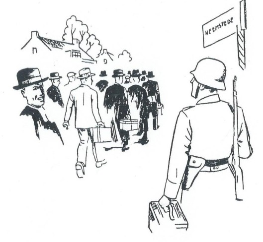 Tekening uit het boek 'Ik kon niet anders' van Jupp Henneböhl