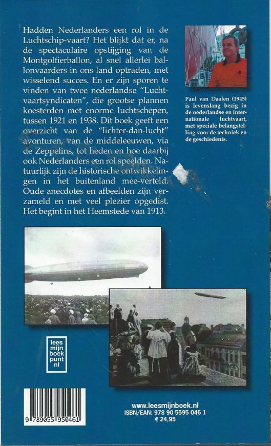 Achteromslag van boek van Paul van Daalen: 'De eeuw van het dal; 100 jaar Nederland en de Zeppelins, 2007'.