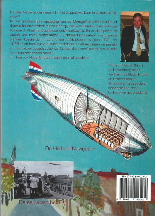 Achterzijde van tweede druk 'Nederland en de Zeppelins' door Paul van Daalen