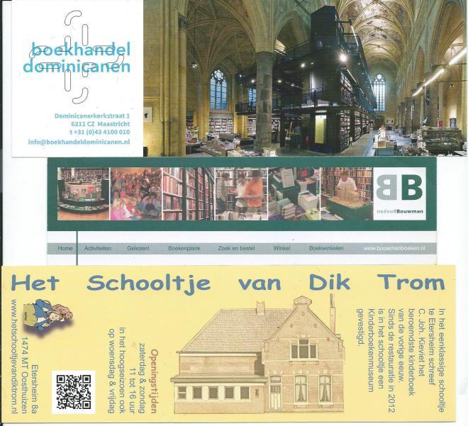 Boekenleggers van 1) Boekhandel Dominicanen in Maastricht, 2) Bouwman Boeken in Maarssen, 3) Het schooltje van Dik Trom, kinderboekenmuseum, Oosthuizen